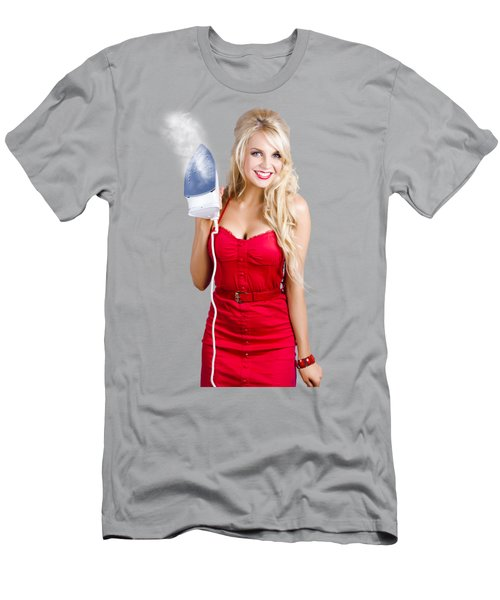 Young Blond Woman With Iron Men's T-Shirt (Athletic Fit)