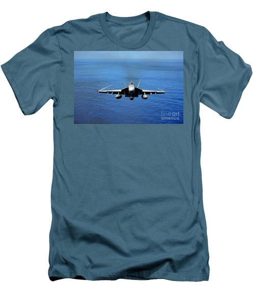 Men's T-Shirt (Slim Fit) featuring the photograph  A Fa-18 Hornet Demonstrates Air Power. by Paul Fearn