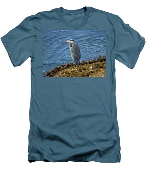 Men's T-Shirt (Slim Fit) featuring the photograph  Blue Heron On A Rock by Eti Reid
