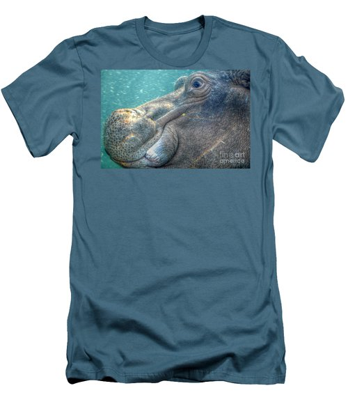 Hippopotamus Smiling Underwater  Men's T-Shirt (Athletic Fit)