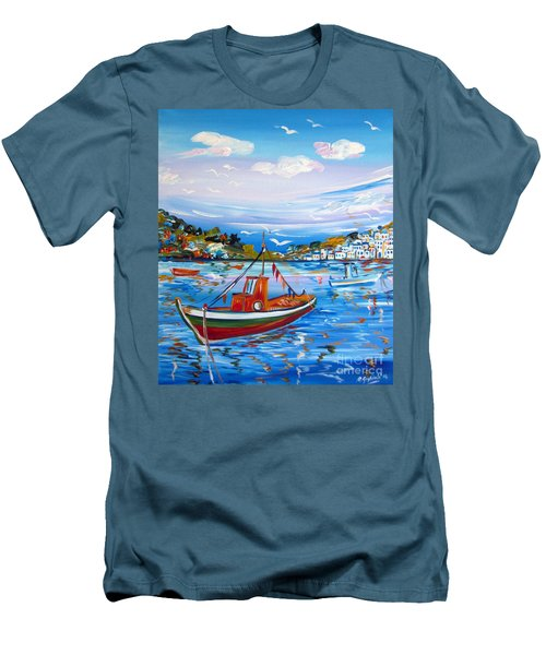 Little Fisherman Boat  Men's T-Shirt (Slim Fit) by Roberto Gagliardi