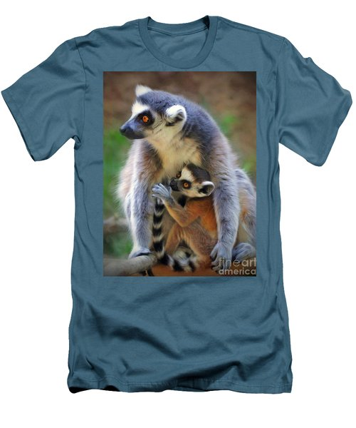 Men's T-Shirt (Slim Fit) featuring the photograph    Mother And Baby Monkey by Savannah Gibbs