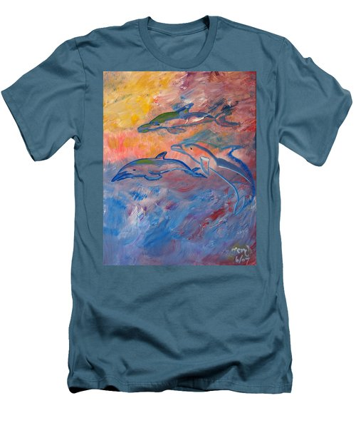 Men's T-Shirt (Slim Fit) featuring the painting  Soaring Dolphins by Meryl Goudey