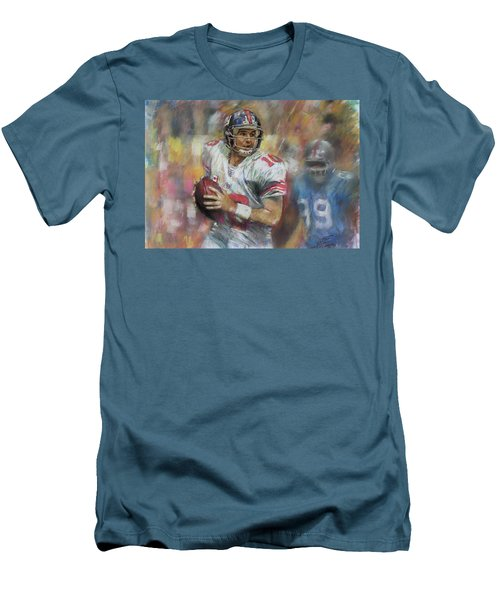 Men's T-Shirt (Slim Fit) featuring the drawing Eli Manning Nfl Ny Giants by Viola El