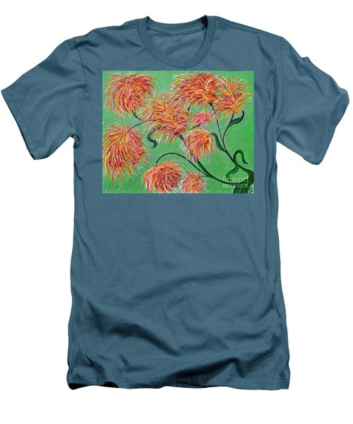 Men's T-Shirt (Slim Fit) featuring the painting Fireworks by Alys Caviness-Gober