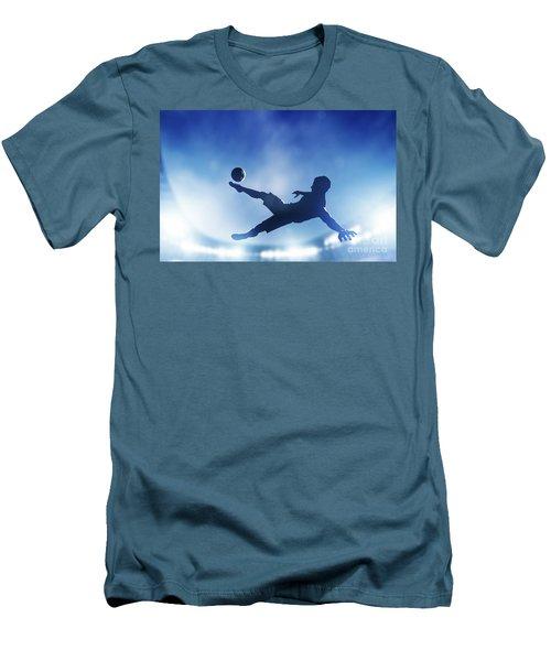 Football Soccer Match A Player Shooting On Goal Men's T-Shirt (Slim Fit) by Michal Bednarek