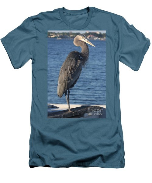 Great Blue Heron  Men's T-Shirt (Slim Fit) by Christiane Schulze Art And Photography