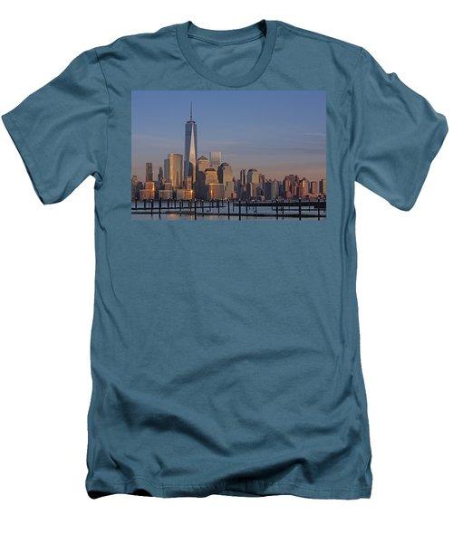 Lower Manhattan Skyline Men's T-Shirt (Slim Fit) by Susan Candelario