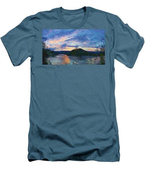Sunset Pano - Watauga Lake Men's T-Shirt (Slim Fit) by Tom Culver