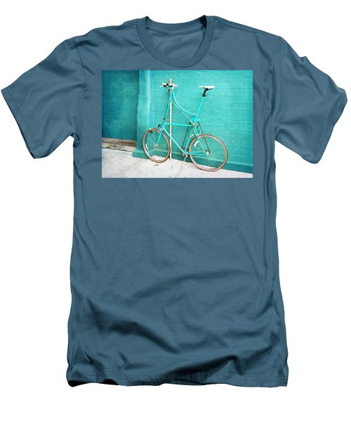 Men's T-Shirt (Slim Fit) featuring the photograph Tall Bike On Aqua Blue Green by Brooke T Ryan