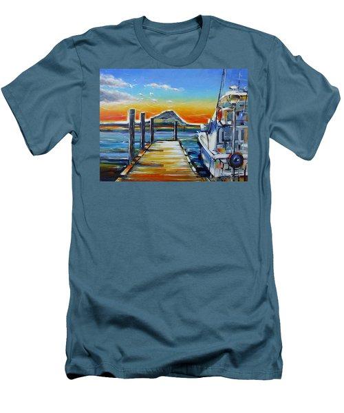 Men's T-Shirt (Slim Fit) featuring the painting Tauranga Marina 180412 by Selena Boron
