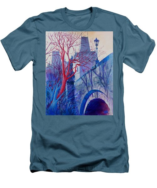 Men's T-Shirt (Slim Fit) featuring the painting The Charles Bridge Blues by Marina Gnetetsky