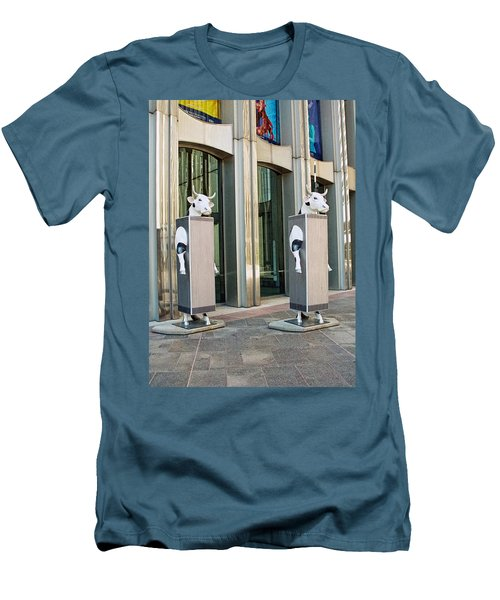 Cow Parade N Y C 2000 - Twin Cowers Men's T-Shirt (Slim Fit) by Allen Beatty