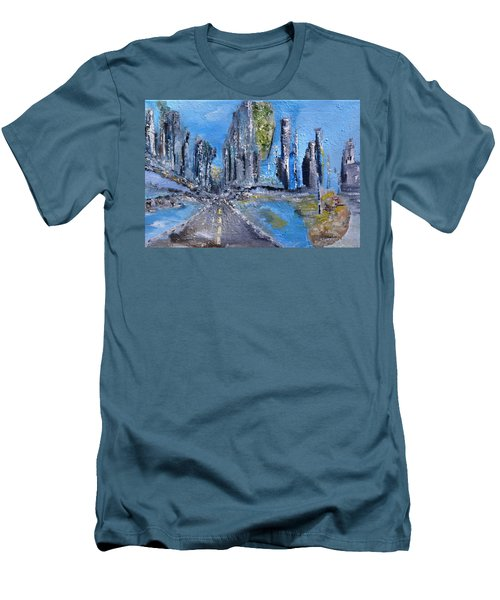 Men's T-Shirt (Slim Fit) featuring the painting Urban by Evelina Popilian