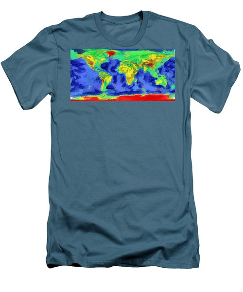 Men's T-Shirt (Slim Fit) featuring the painting World Map Art by Georgi Dimitrov