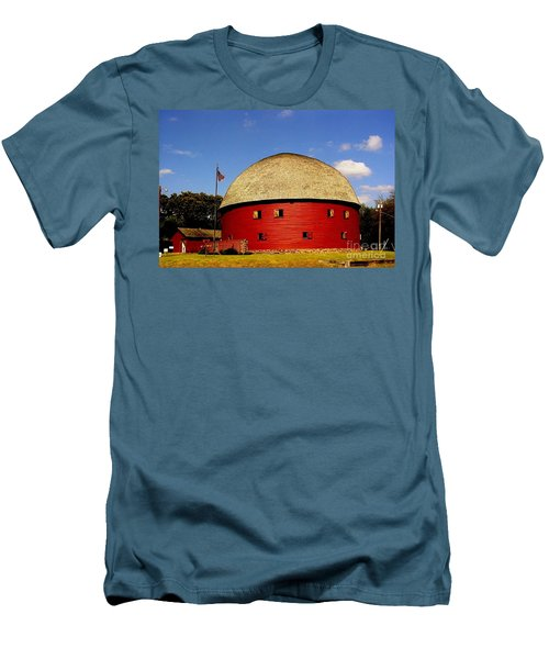 Men's T-Shirt (Slim Fit) featuring the photograph 100 Year Old Round Red Barn  by Janette Boyd