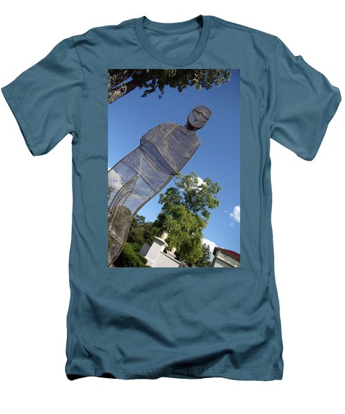 Men's T-Shirt (Slim Fit) featuring the photograph Minujin's A Man Of Mesh by Cora Wandel