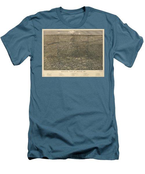 Birdseye Map Of Denver Colorado - 1887 Men's T-Shirt (Slim Fit) by Eric Glaser