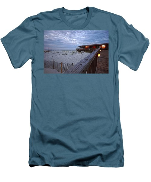Men's T-Shirt (Slim Fit) featuring the painting Cloudy Morning At The Sea N Suds by Michael Thomas