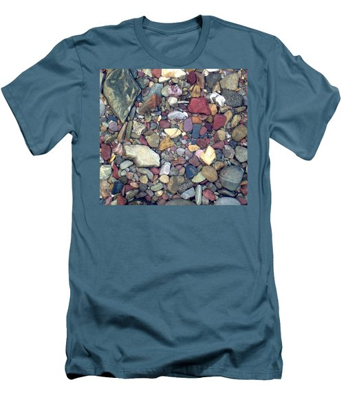 Men's T-Shirt (Slim Fit) featuring the photograph Colorful Lake Rocks by Kerri Mortenson
