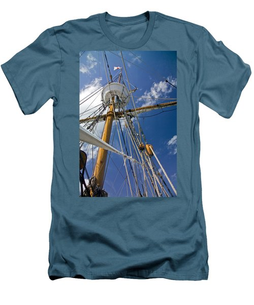 Men's T-Shirt (Slim Fit) featuring the photograph Elizabeth II Mast Rigging by Greg Reed