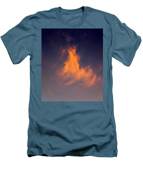 Men's T-Shirt (Slim Fit) featuring the photograph Fire In The Sky by Jeanette C Landstrom