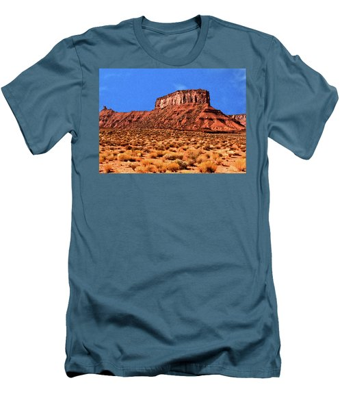 Men's T-Shirt (Slim Fit) featuring the painting National Navajo Tribal Park by Bob and Nadine Johnston