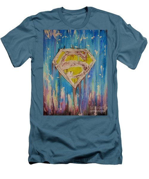 Men's T-Shirt (Slim Fit) featuring the painting Superman's Shield by Justin Moore