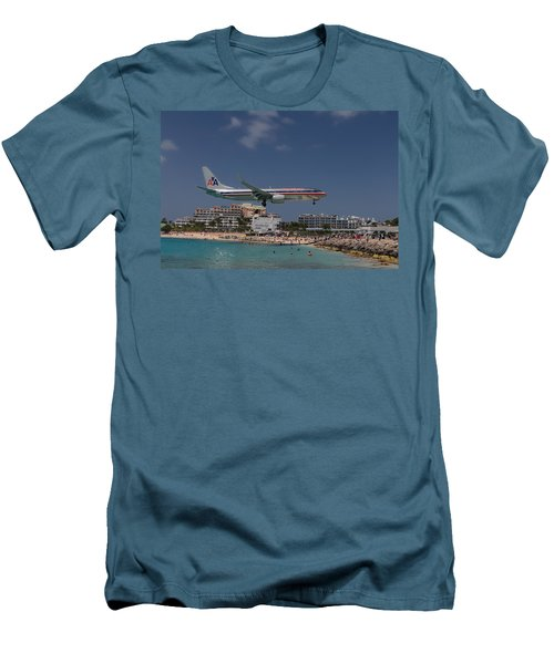 American Airlines At St. Maarten  Men's T-Shirt (Slim Fit) by David Gleeson
