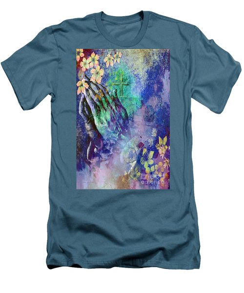 Men's T-Shirt (Slim Fit) featuring the painting Praying Hands Flowers And Cross by Annie Zeno