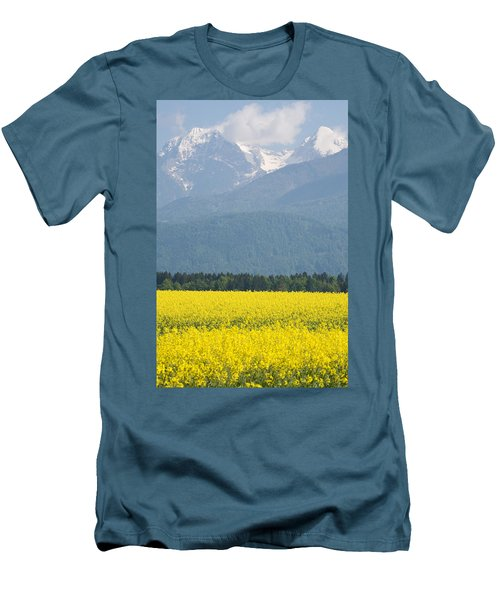 rapeseed field in Brnik with Kamnik Alps in the background Men's T-Shirt (Athletic Fit)
