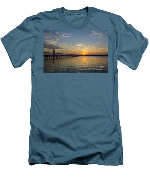 Arthur Ravenel Bridge Tranquil Sunset Men's T-Shirt (Slim Fit) by Dale Powell