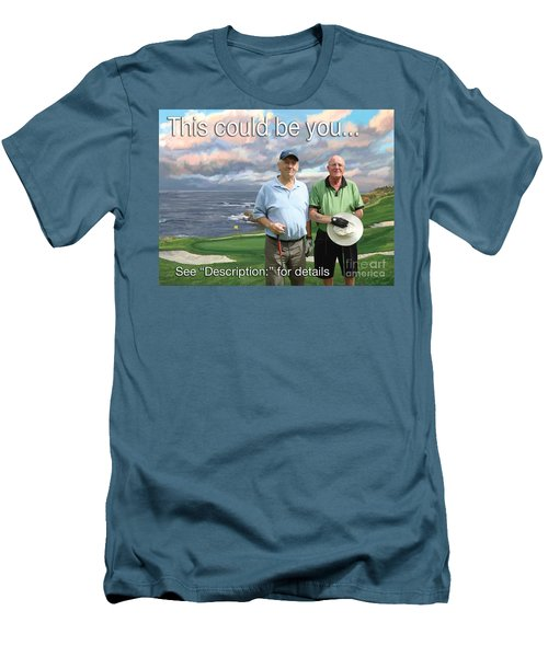 Men's T-Shirt (Slim Fit) featuring the painting 8th Hole Pebble Beach by Tim Gilliland