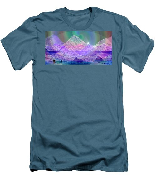939 - Magic Mood  Mountain World Men's T-Shirt (Slim Fit) by Irmgard Schoendorf Welch