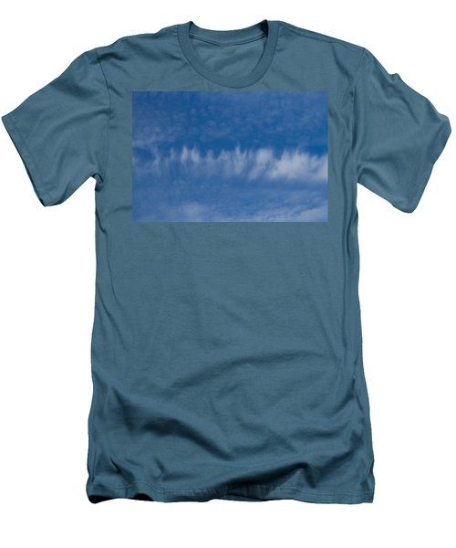 Men's T-Shirt (Slim Fit) featuring the photograph A Batch Of Interesting Clouds In A Blue Sky by Eti Reid