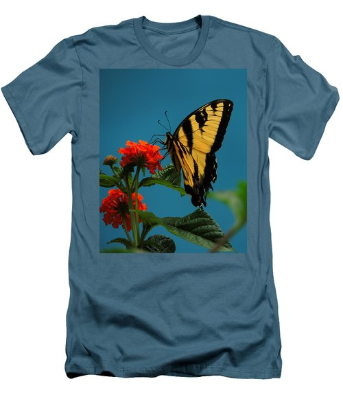 Men's T-Shirt (Slim Fit) featuring the photograph A Butterfly by Raymond Salani III