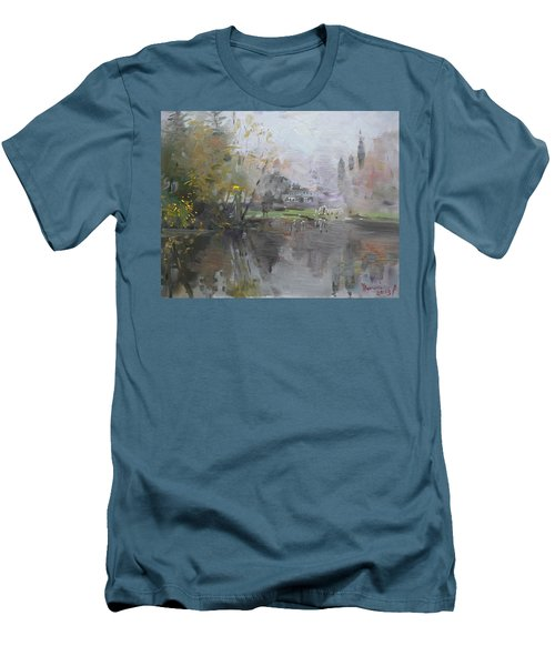A Foggy Fall Day By The Pond  Men's T-Shirt (Athletic Fit)