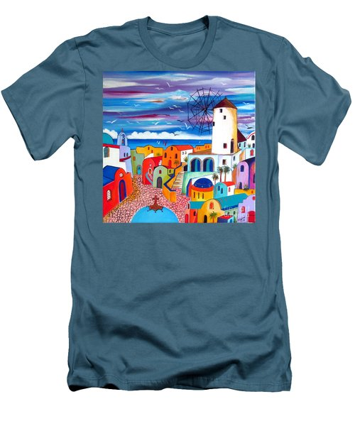 A Greek Mill And The Colors Of Oia Santorini  Men's T-Shirt (Athletic Fit)