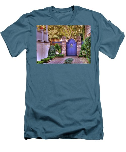 Men's T-Shirt (Slim Fit) featuring the photograph A Private Garden In Charleston by Kathy Baccari