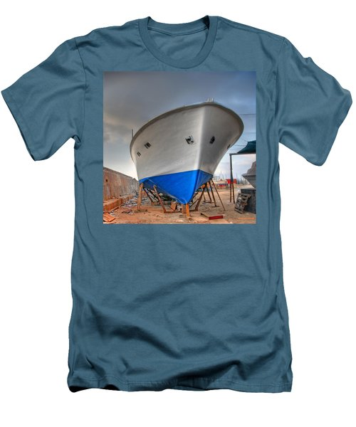 Men's T-Shirt (Slim Fit) featuring the photograph a resting boat in Jaffa port by Ron Shoshani