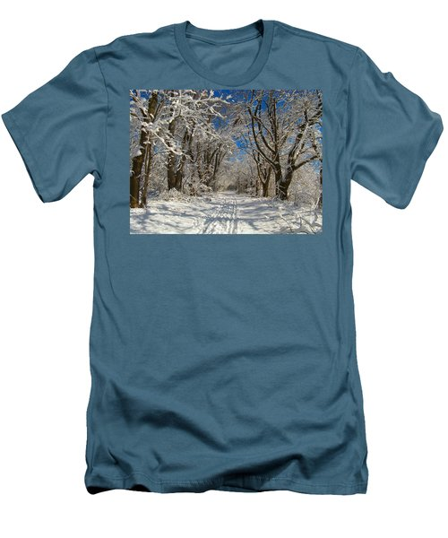 Men's T-Shirt (Slim Fit) featuring the photograph A Winter Road by Raymond Salani III