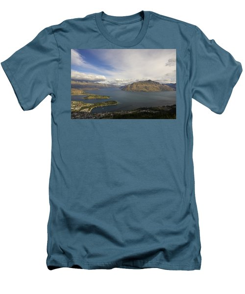 Men's T-Shirt (Slim Fit) featuring the photograph Above Queenstown #2 by Stuart Litoff