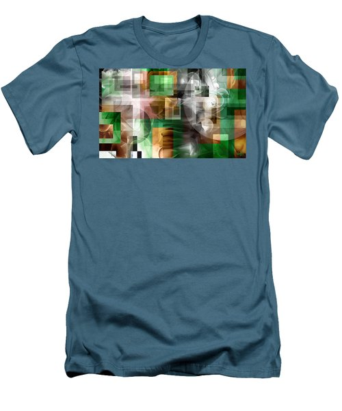 Men's T-Shirt (Slim Fit) featuring the painting Abstract In Green by Curtiss Shaffer