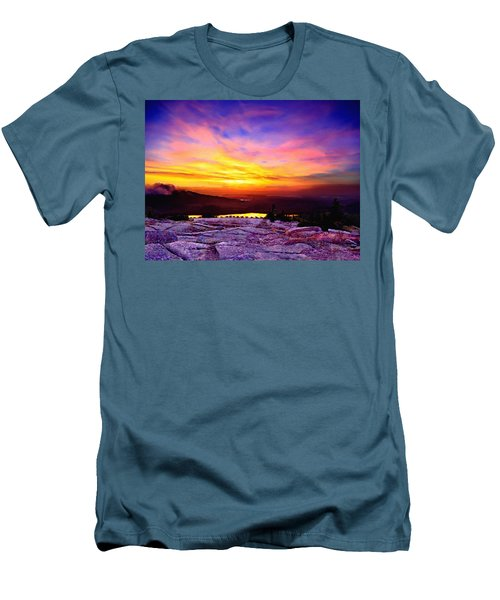 Acadia National Park Cadillac Mountain Sunrise Forsale Men's T-Shirt (Slim Fit) by Bob and Nadine Johnston