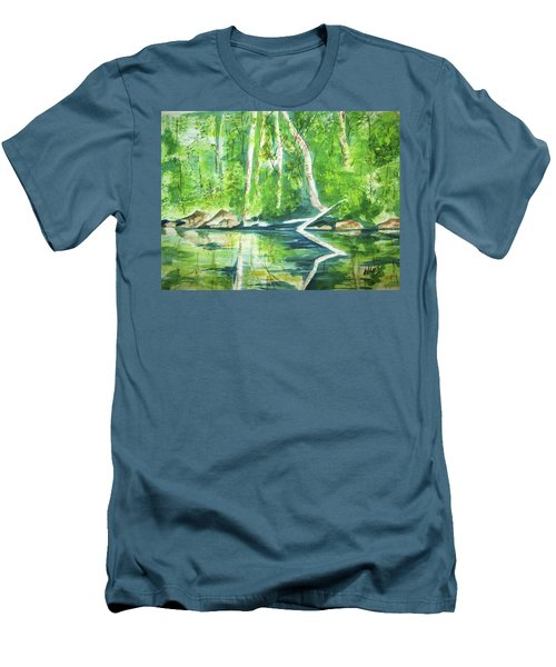 Men's T-Shirt (Slim Fit) featuring the painting Adirondack Zen by Ellen Levinson