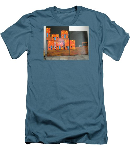 Men's T-Shirt (Slim Fit) featuring the painting Adobes by Sharyn Winters