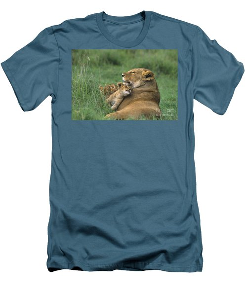 African Lions Mother And Cubs Tanzania Men's T-Shirt (Athletic Fit)