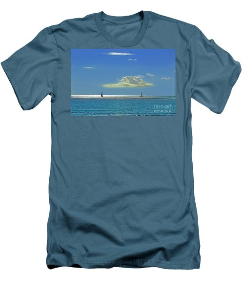 Men's T-Shirt (Slim Fit) featuring the photograph Air Beautiful Beauty Blue Calm Cloud Cloudy Day by Paul Fearn
