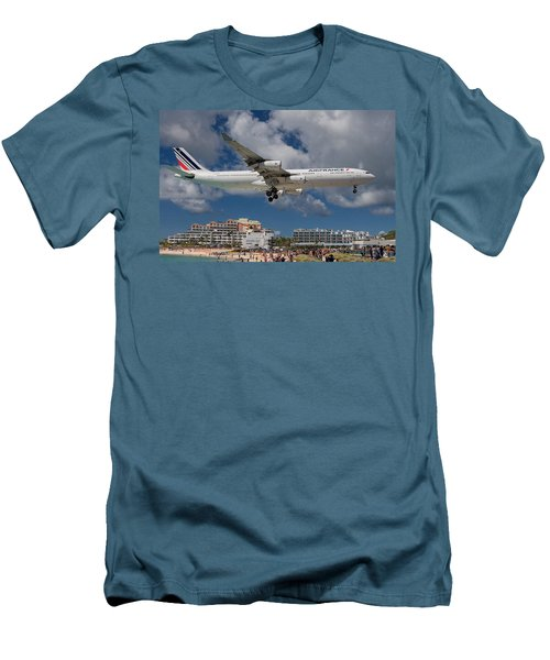 Air France Landing At St. Maarten Men's T-Shirt (Slim Fit) by David Gleeson