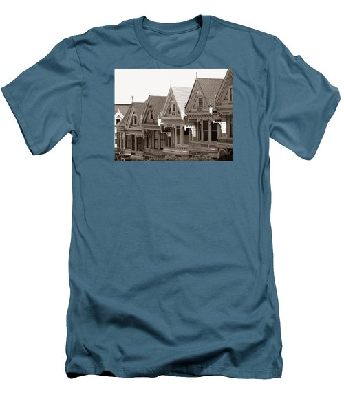 Alamo Square - Victorian Painted Ladies 2009 Men's T-Shirt (Slim Fit) by Connie Fox